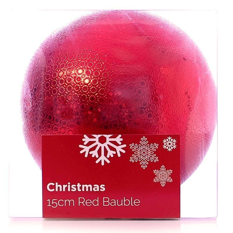 Festive Christmas Decoration Plastic Ball - Red (15 cm) - Pattern