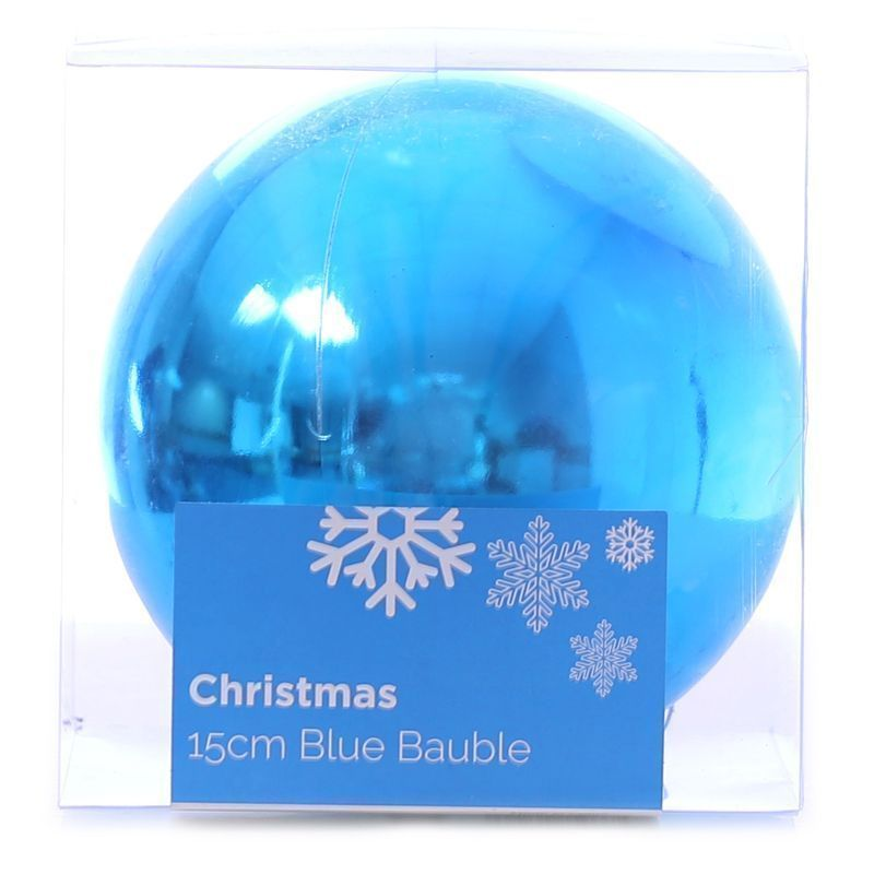 Festive Christmas Decoration Plastic Ball - Blue (15 cm) - Plain