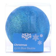 See more information about the Festive Christmas Decoration Plastic Ball - Blue (15 cm) - Glitter