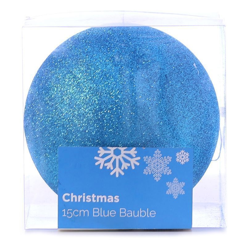 Festive Christmas Decoration Plastic Ball - Blue (15 cm) - Glitter