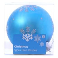 See more information about the Festive Christmas Decoration Plastic Ball - Blue (15 cm) - Snowflake