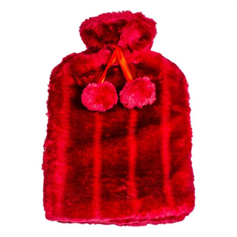 Hot Water Bottle Fur Cover 2L (Red)