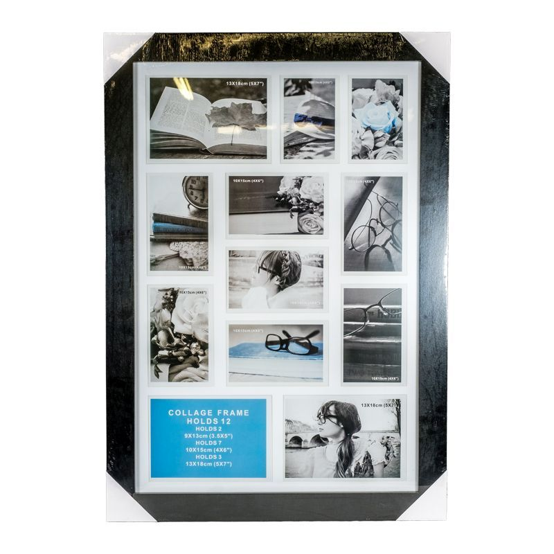 Collage Photo Frame 12 Openings (Black)