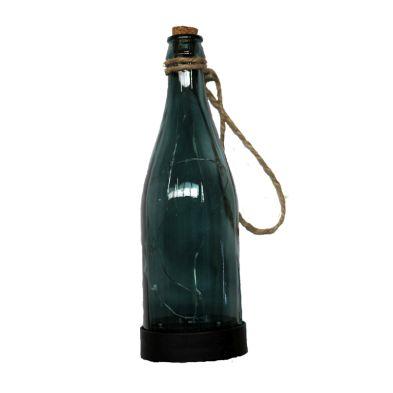 Hanging Glass Bottle Solar Light (Blue)