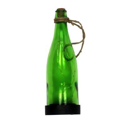 Hanging Glass Bottle Solar Light (Green)