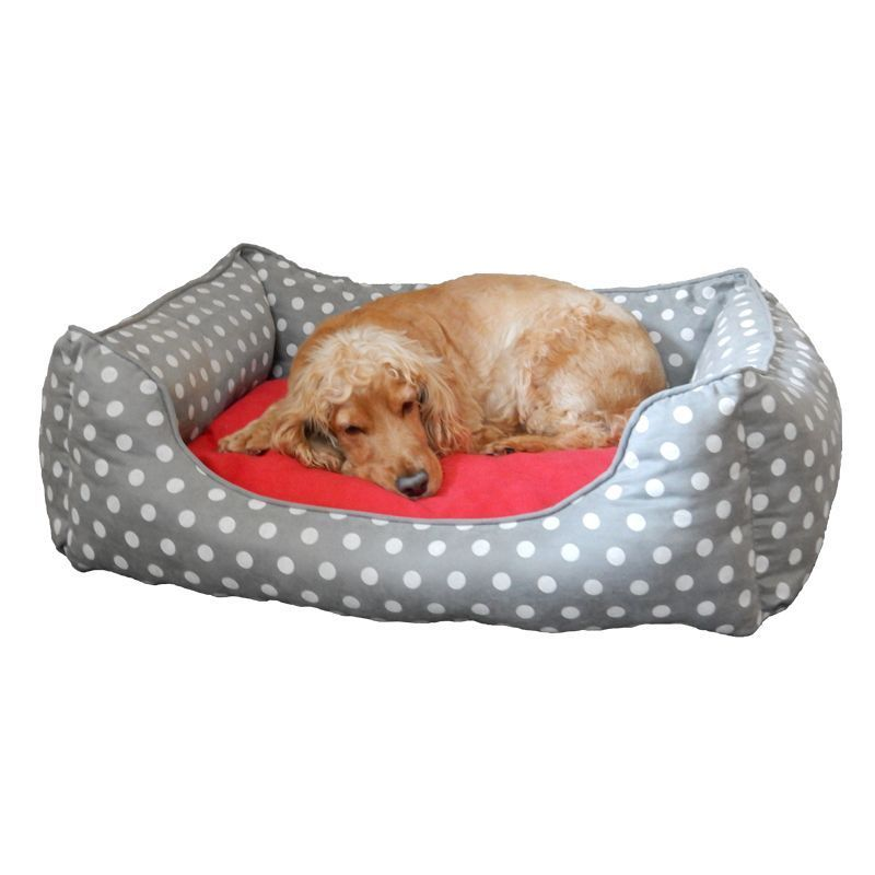 Large Polka Dot Dog Pet Bed (Grey)