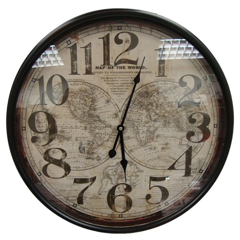 World Map Iron Wall Clock (51cm Diameter)