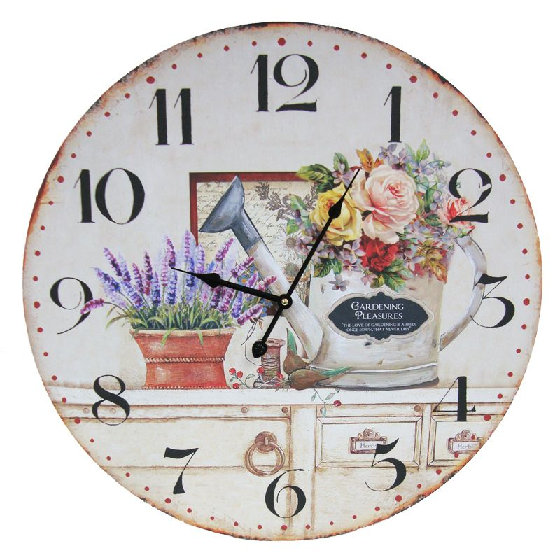 Gardening Wooden Wall Clock 58cm Diameter