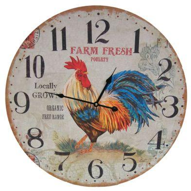 Chicken Wooden Wall Clock 58cm Diameter