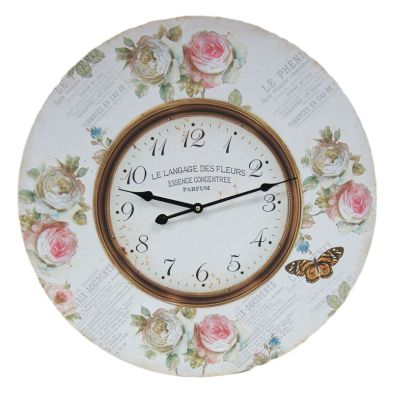 Flowers Wooden Wall Clock 58cm Diameter