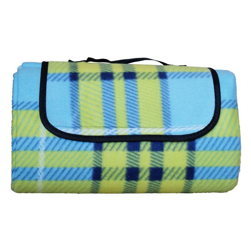 Fleece Picnic Blanket 125cm x 150cm (Blue & Green)