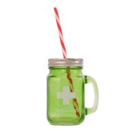See more information about the Green Glass Mason Jar with Handle, Lid and Straw