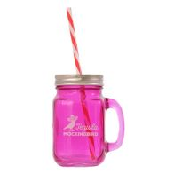 See more information about the Purple Glass Mason Jar with Handle, Lid and Straw
