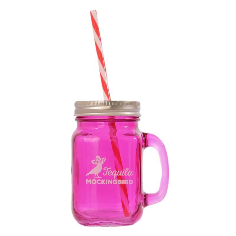 Purple Glass Mason Jar with Handle, Lid and Straw