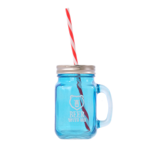 See more information about the Glass Mason Jar with Handle, Lid and Straw