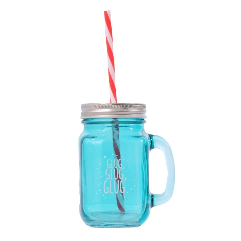 Teal Glass Mason Jar with Handle, Lid & Straw
