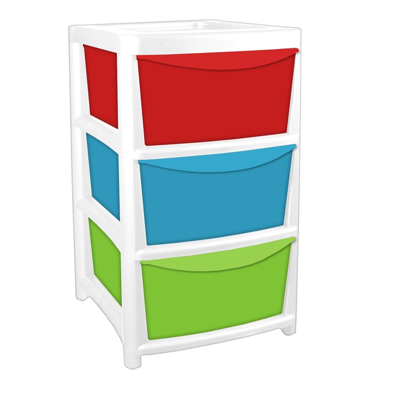 3 Drawer Tower Unit - Red, Green & Blue
