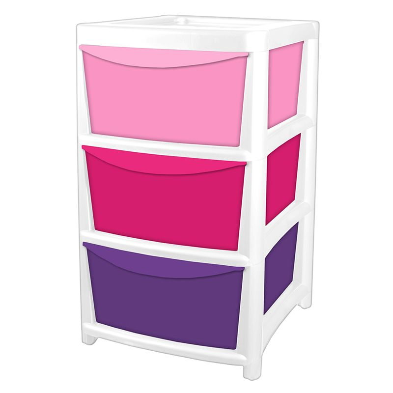 3 Drawer Tower Unit - Pink & Purple