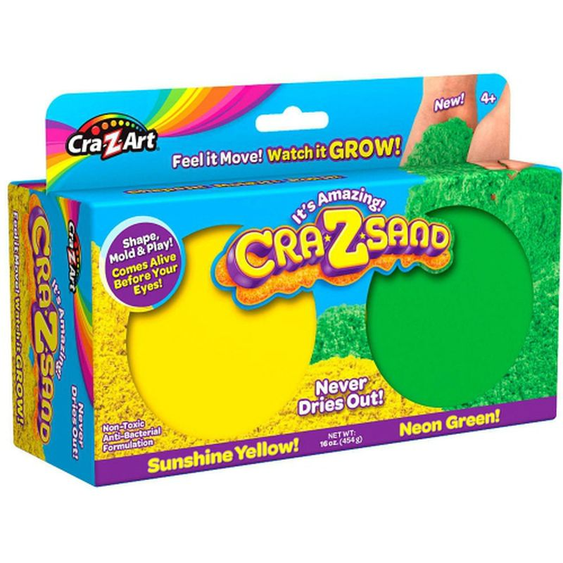 Cra-Z-Art 2 Pack Play Sand - Sunshine Yellow & Neon Green