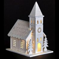 See more information about the White LED Wooden Church with Trees