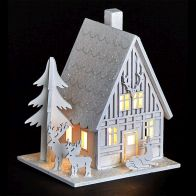 See more information about the White LED Wooden House with Reindeer
