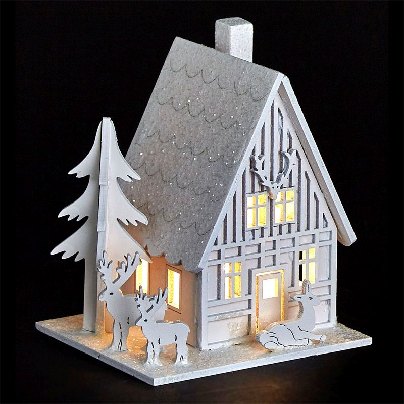 White LED Wooden House with Reindeer