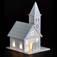 See more information about the White LED Wooden Church with People