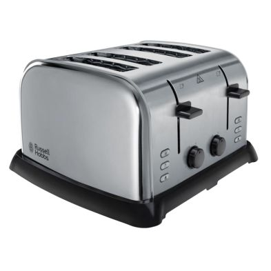 Image of Russell Hobbs Wide Slot 4 Slice Toaster - Stainless Steel