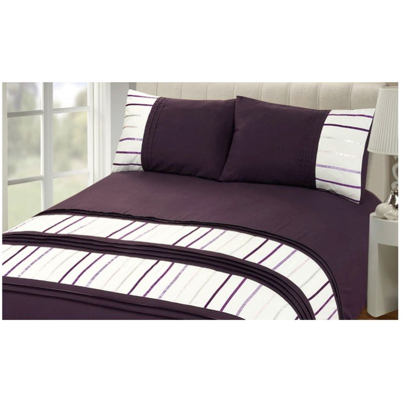 Double Bed Embroided Duvet Cover - Aubergine