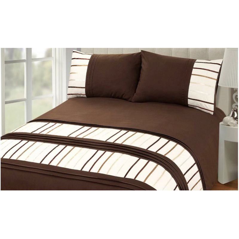Double Bed Embroided Duvet Cover - Chocolate