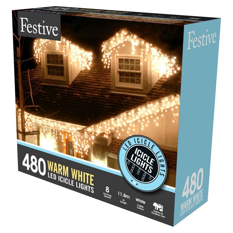 480 warm white led snowing icicle lights buy online at qd stores. Black Bedroom Furniture Sets. Home Design Ideas