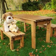 See more information about the Little Fellas 4 Seat Redwood Kids ECO Garden Bench & Table