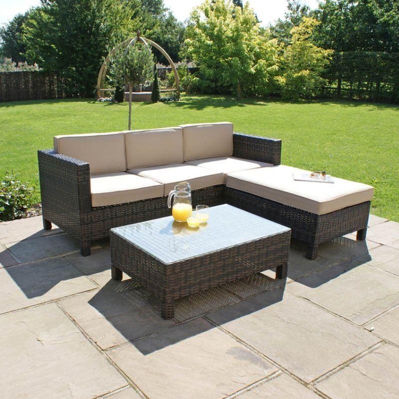 Buy Garden Corner Sofa: LA Corner Garden Sofa Set Brown