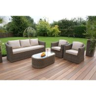 See more information about the Winchester 3 Seat Garden Sofa Set Brown