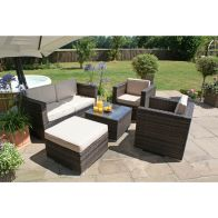 See more information about the 5 Piece 2 Seat Ice Bucket Garden Sofa Set Brown