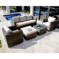 See more information about the Georgia 3 Seat Ice Bucket Garden Sofa Set Brown