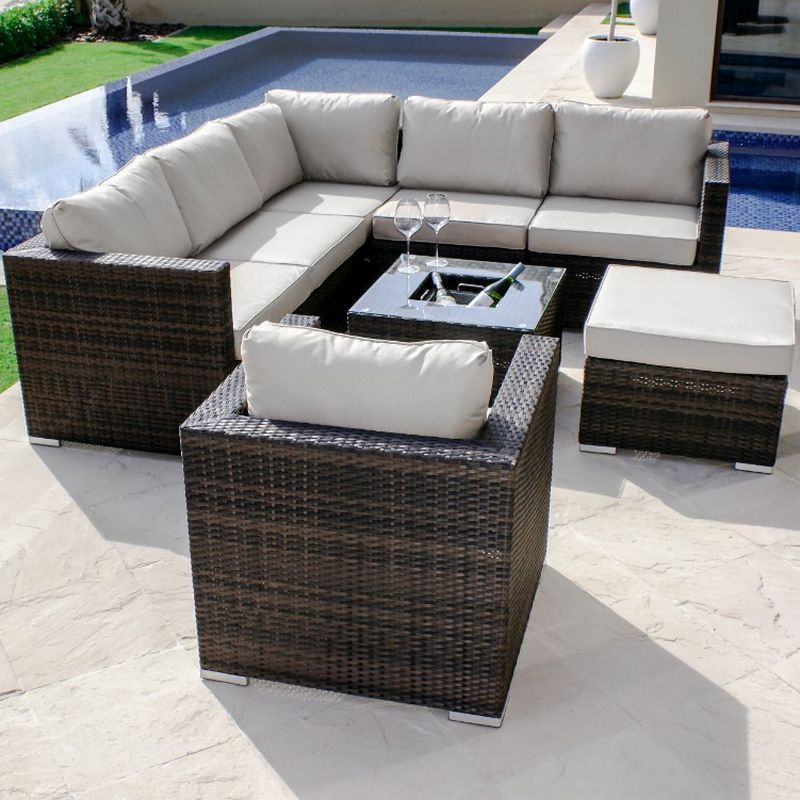Maze rattan london corner group with chair and ice bucket for Outdoor furniture london