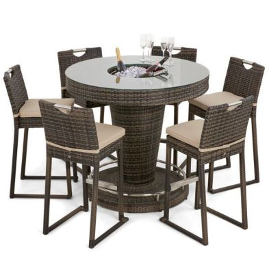 Maze Rattan 6 Seat Bar Set With Ice Bucket and Parasol - Brown