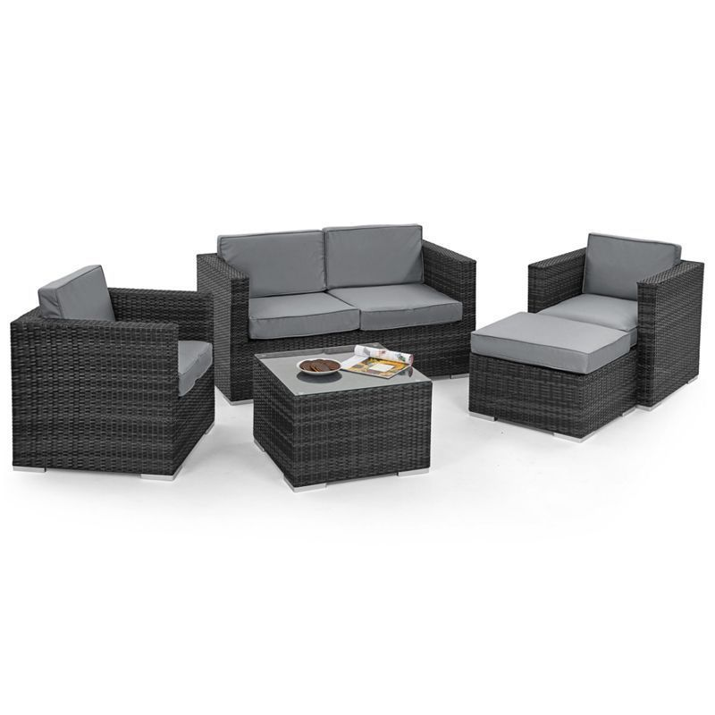 5 Piece 2 Seat Ice Bucket Garden Sofa Set Grey