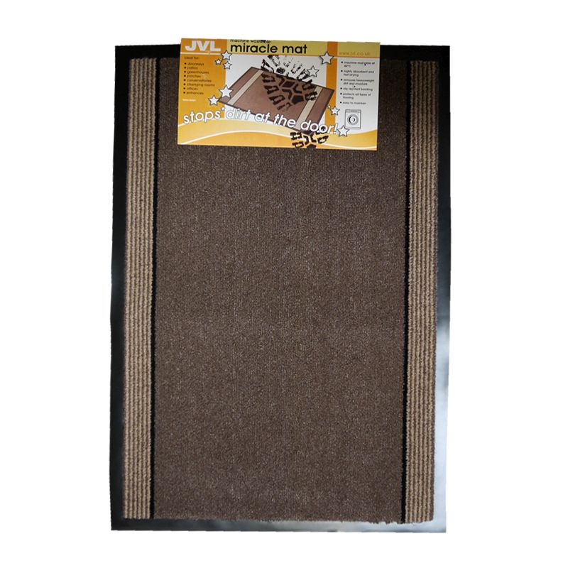 90x60cm JVL Miracle Barrier Mat - Brown Stripe