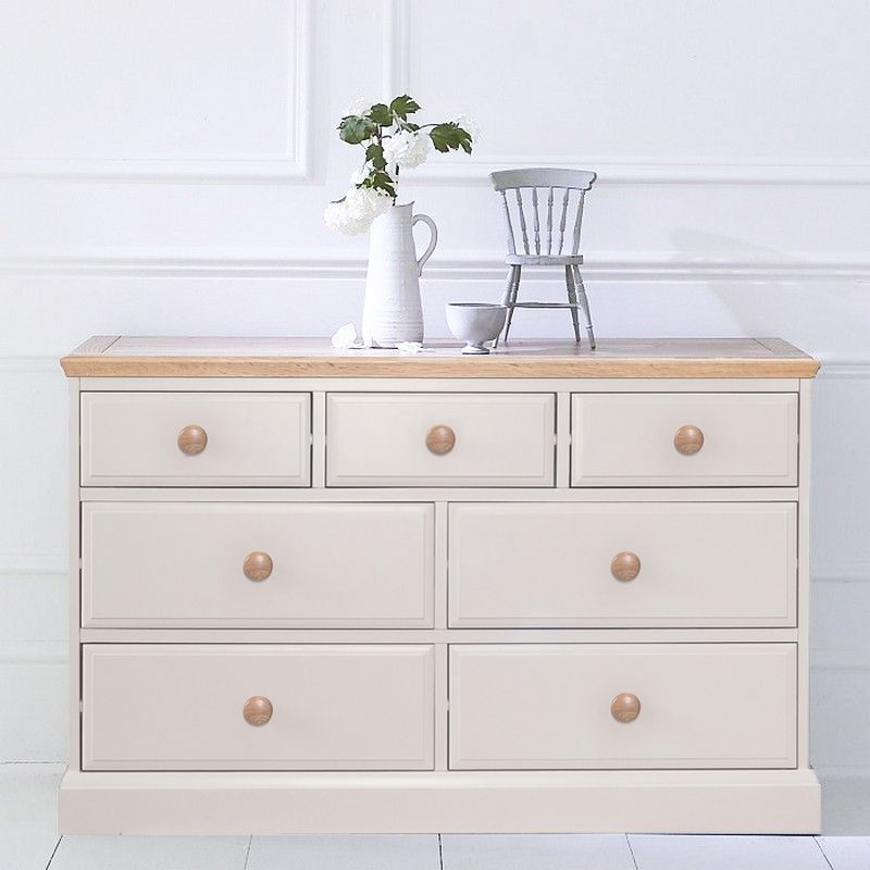 Country Cottage Cream & Oak Chest Of 7 Drawers