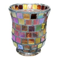 See more information about the Coloured Mosaic Glass Candle Holder (9.5cm x 11cm) - Rainbow