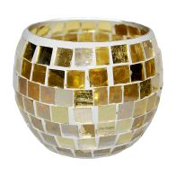 See more information about the Coloured Mosaic Glass Candle Holder (12cm x 10cm) - Golds