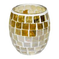 See more information about the Coloured Mosaic Glass Candle Holder (8.5cm x 9cm) - Golds