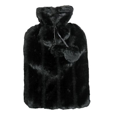 Image of 2 Litre Hot Water Bottle with Fur Cover - Black
