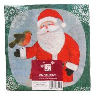 See more information about the Christmas Lunch Napkin 25 Pack - Santa & Robin Design