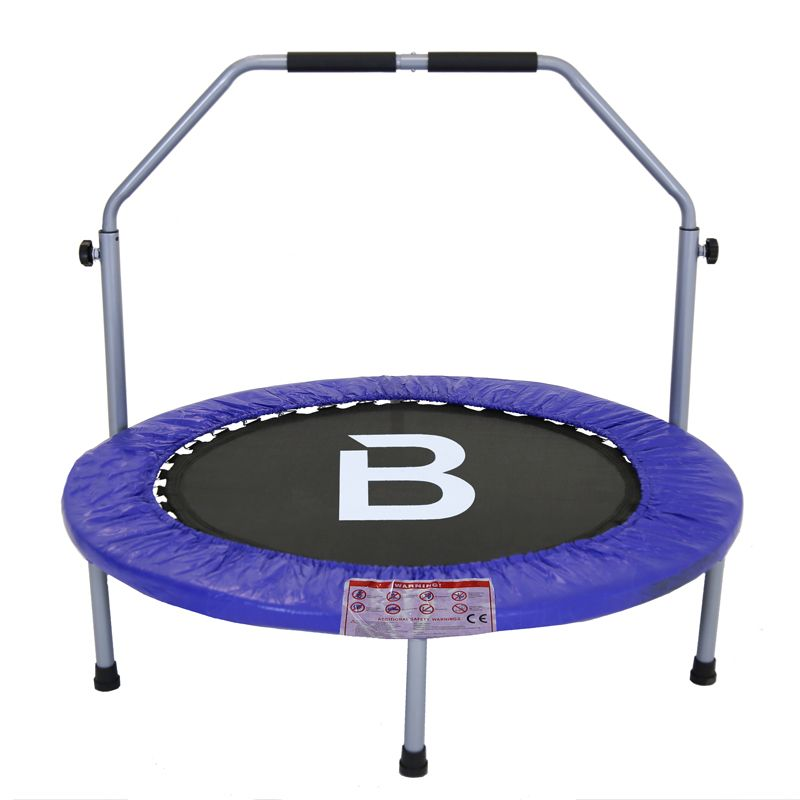 40 Inch Folding Fitness Exercise Mini Trampoline With Handle - Blue