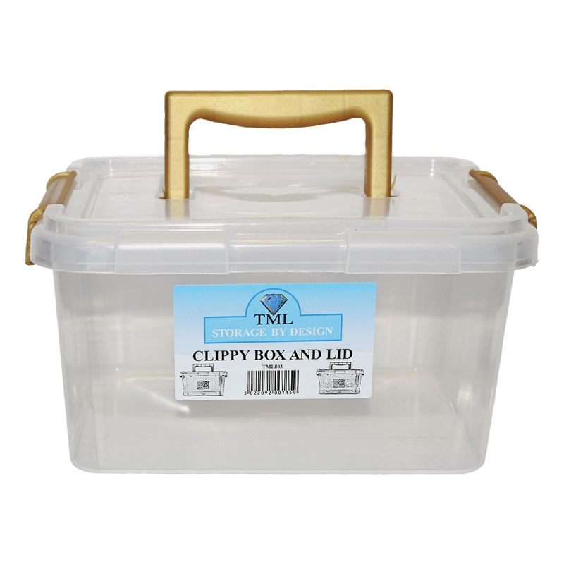 3.5L TML Stacking Plastic Storage Box Clear & Gold Clip Lid