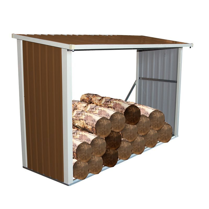 8ft x 3ft Metal Garden Log Wood Store Shed