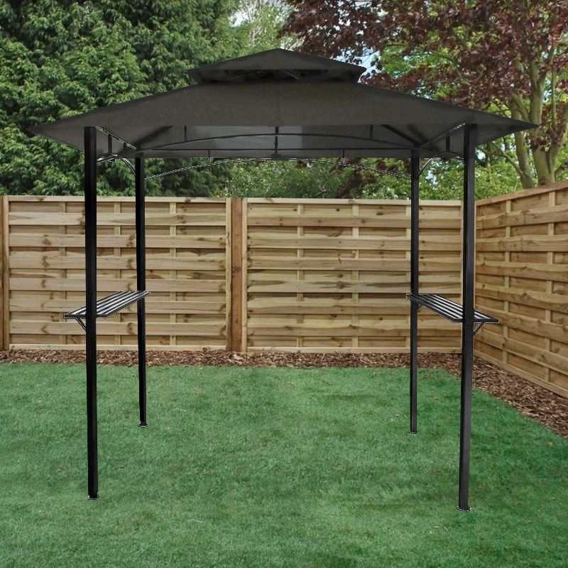 Bentley 8ft x 5ft Steel Grill Garden Outdoor Gazebo - Grey